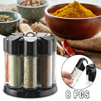 8 Jar Revolving Spice Rack Herbs Stand Glass Kitchen Storage Rotating Holder