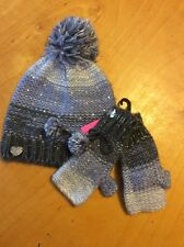 $48.00 Blue Betsey Johnson Crystal Knit Hat And Gloves Set J28 113