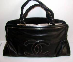 RARE! New with Tags CHANEL 07P Black Super Edgy SOHO Satchel with Chain Detail