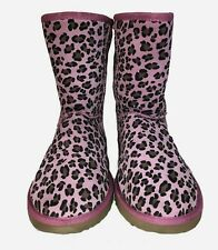 Woman's Ukala Pink / Rose Leopard Ally Boots Wool Lining Size 10