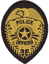 Novelty (U-N301B) Police Officer Badge with Star Patch Black and Gold