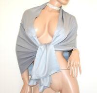 STOLA ARGENTO donna maxi foulard grigio coprispalle raso sciarpa elegante G82