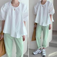 Women Short Sleeve Oversized Tops Pullover Ladies Puff Sleeve Blouse Pleat Shirt
