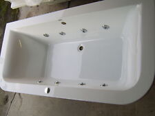 Whirlpool Bath DELTA 'D' shape 8 Jet Chrome  1800 x 850