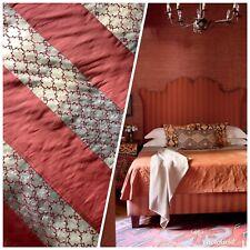 100% Silk Taffeta Striped Drapery Fabric - Brick Red & Clear - Embroidered