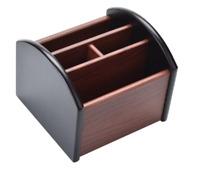 Remote Control Caddy Holder (Desk Organizer-4)Revolving Wood Desktop Organizer.