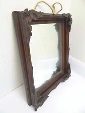 Vintage Wood Framed Carved Finial Dark Stain Wall Hanging Rectangular Mirror Old