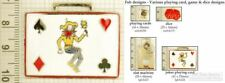 Cards, dice & gambling decorative fobs, various designs & keychain options