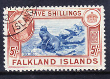 FALKLAND IS George VI 1938 SG161 5/- blue & chestnut very fine used. Cat £95
