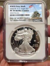 2020 W End World War II 75 American Silver Eagle V75 NGC PF70 IWO JIMA LABEL A