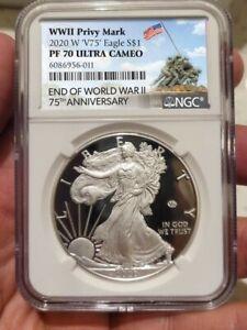 2020 W End World War II 75 American Silver Eagle V75 NGC PF70 IWO JIMA LABEL !0