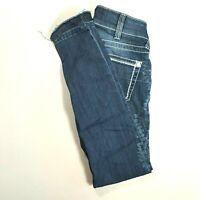 ARIAT Womens Low Rise SKINNY Jeans Medium Wash *RAW HEM* Size 26 REGULAR