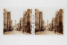Bruges Rue Belgique Plaque de verre Stéréo Glass Stereoview Vintage