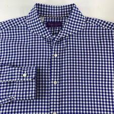 Ralph Lauren Mens Dress Shirt Blue Gingham Long Sleeve Spread Collar Cotton 16
