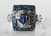 CLASS 9CT 9K WHITE GOLD Sri Lankan BLUE SAPPHIRE & DIAMOND ART DECO INS RING