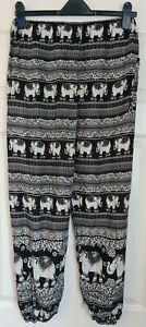 Floaty Boho / Hippy Elephant Print Summer Trousers - Size S (8/10) - Immaculate