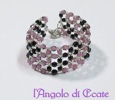 Idea regalo BRACCIALE fascia donna artigianale perline viola nero cristalli