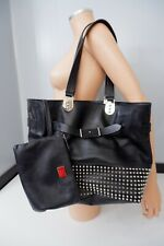 christian louboutin Black Bag Large Shoulder Spiked Sybil Matching Purse Tote