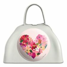 Love Flower Hearts White Metal Cowbell Cow Bell Instrument