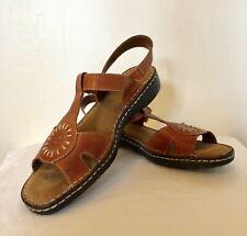 NIB Natural Soul Laden Womens Leather Slingback Sandals Brown Multi MSRP$70