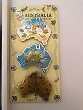 3pcs Australian Souvenirs Fridge Magnets Set Map Metal Kangaroo Aussie Gift Bulk