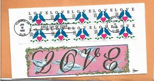 US FDC #2441a Gill Craft 1990 AR Love Dove Birds Unfolded Booklet Pane B COVER ^