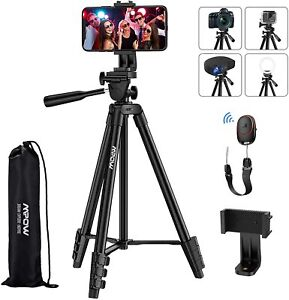 "Mpow Phone Tripod, 53"" Extendable Camera Tripod with Bluetooth 5.0 Remote & 360°"