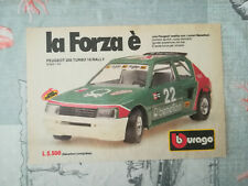 "PUBBLICITA' ORIGINALE ADVERTISING ""PEUGEOT 205 TURBO 16"" BBURAGO anni 70/80"