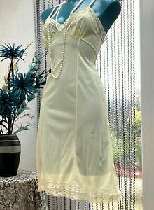 vintage pastel yellow lacy full slip sheer nylon petticoat  size 36 med