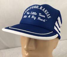 Vtg Little Town Big Heart Hat Snapback Side Stripe Trucker Cap Longford Kansas