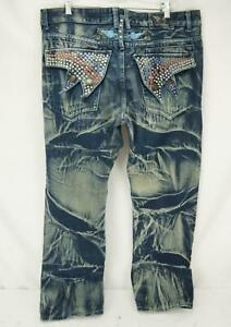 Robins Jeans Rhinestone Pockets Acid Bleach Wash Blue Men's 40 x 32
