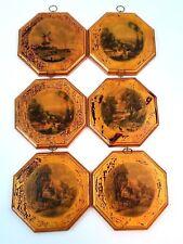 Vintage Decorative Wood Plaque Set Of 6 Farm Landscape Golden Octagon Shape