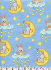 Sleepy Bunnies and Moons - FLANNEL Quilt Fabric - 1 1/2 Yard Piece