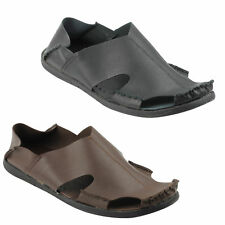 Mens Soft Real Leather Light Weight Shoes Summer Mules Sandals Black Brown Size