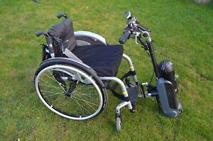 Rollstuhlantrieb Zuggerät MySlave MySkate mit  Sopur Helium Rollstuhl