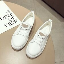 Korean Lace Up Solid Ladies Breathable Sneakers - White (XYG062308WI)
