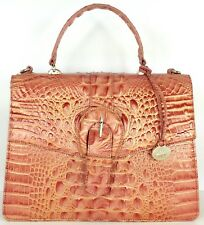❤BRAHMIN GABRIELLA SATCHEL PEACH GOLD SALMON CROC LEATHER TOP HANDLE ~ BRINLEY❤
