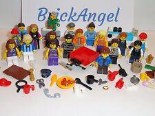 NEW LEGO Large Lot of 17 Mini Figures Male Female Wagon Food Accessories