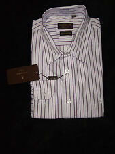 TORRENTE CHEMISE MANCHES LONGUES 100% COTON 41-42 BLANC RAYE VIOLET /LILAS