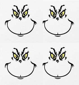 Similar To Grinch Face X 12 Decal Stickers Bauble Christmas Present Grinchmas
