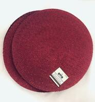 Set of 6 Dark Red Sparkly Woven Round Placemats - NEW w/TAGS