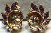 "Vintage Crown Trifari  ""Lucky Clover"" Gold Tone Amethyst & Rhinestones Earrings"