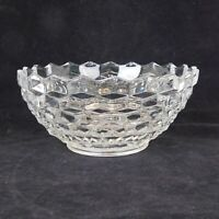 Fostoria American Clear Glass 10 in Wide Footed Round Salad Bowl Cube Motif VTG