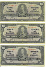Bank of Canada 1937 $10 Ten Dollars Lot of 3 Notes King George VI $30 Face Fine