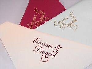 100 x Personalised Luxury Dinner Wedding  Napkins