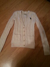 NWOT Abercrombie Kids Cable Knit Cardigan Sweater Size Large Cream Very Nice $78