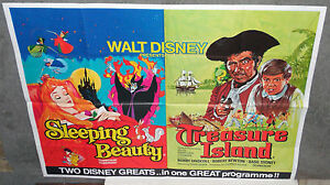 SLEEPING BEAUTY/TREASURE ISLAND original rare DISNEY British quad movie poster