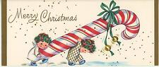 VINTAGE CHRISTMAS CUTE TINY ANGELS CANDY CANE HOLLY BERRY JINGE BELL CARD PRINT