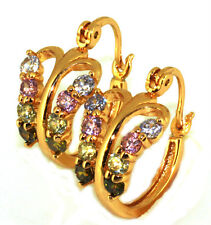 18k yellow gold filled solid butterfly CZ Earrings E-A383