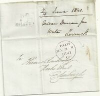 # 1841 FAIR HANDSTRUCK 1 UPP LERWICK  WRAPPER TO EDINBURGH UNIFORM PENNY POST